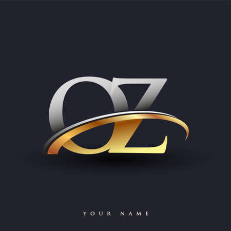 OZ initial logo company name colored gold and silver swoosh design, isolated on white background. vector logo for business and company identity.