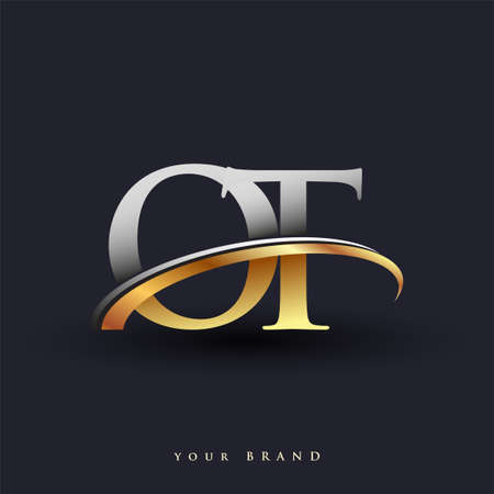 OT initial logo company name colored gold and silver swoosh design, isolated on white background. vector logo for business and company identity. Ilustração