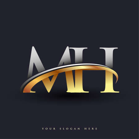 MH initial logo company name colored gold and silver swoosh design, isolated on white background. vector logo for business and company identity.