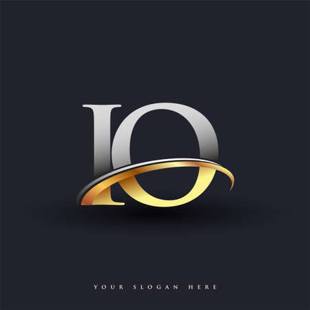 IO initial logo company name colored gold and silver swoosh design, isolated on white background. vector logo for business and company identity.