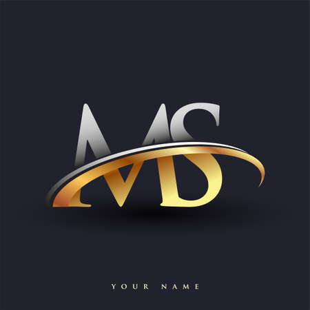 MS initial logo company name colored gold and silver swoosh design, isolated on white background. vector logo for business and company identity. 向量圖像