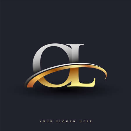 OL initial logo company name colored gold and silver swoosh design, isolated on white background. vector logo for business and company identity. Ilustração
