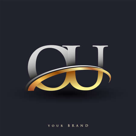 OU initial logo company name colored gold and silver swoosh design, isolated on white background. vector logo for business and company identity.