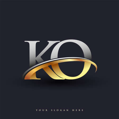 KO initial logo company name colored gold and silver swoosh design, isolated on white background. vector logo for business and company identity.