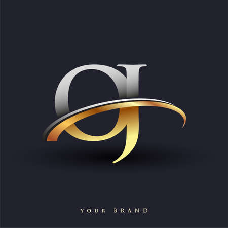 OJ initial logo company name colored gold and silver swoosh design, isolated on white background. vector logo for business and company identity. Ilustração