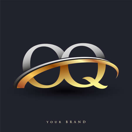 OQ initial logo company name colored gold and silver swoosh design, isolated on white background. vector logo for business and company identity.