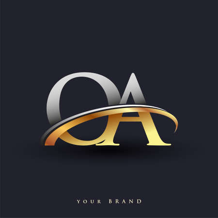 OA initial logo company name colored gold and silver swoosh design, isolated on white background. vector logo for business and company identity. Ilustração