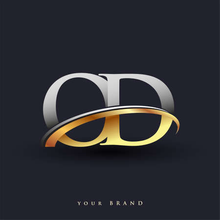 OD initial logo company name colored gold and silver swoosh design, isolated on white background. vector logo for business and company identity. Ilustração