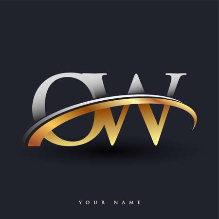 OW initial logo company name colored gold and silver swoosh design, isolated on white background. vector logo for business and company identity. Ilustração