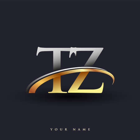 TZ initial logo company name colored gold and silver swoosh design, isolated on white background. vector logo for business and company identity. Logó
