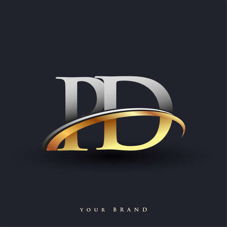 PD initial logo company name colored gold and silver swoosh design, isolated on white background. vector logo for business and company identity.