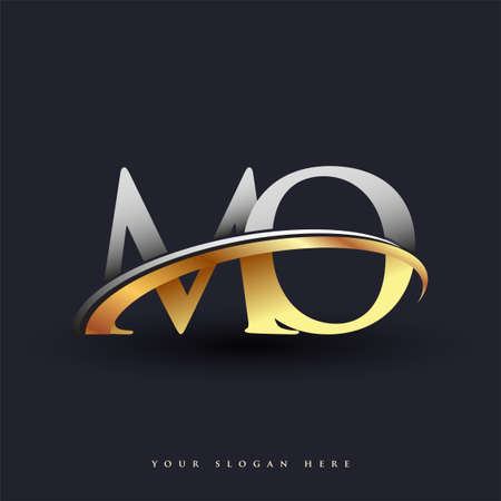 MO initial logo company name colored gold and silver swoosh design, isolated on white background. vector logo for business and company identity. Ilustração