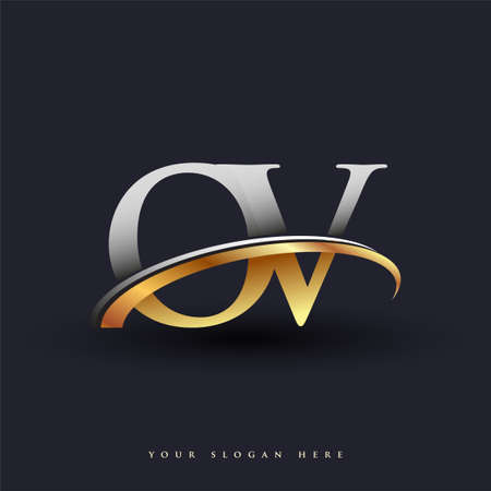 OV initial logo company name colored gold and silver swoosh design, isolated on white background. vector logo for business and company identity.