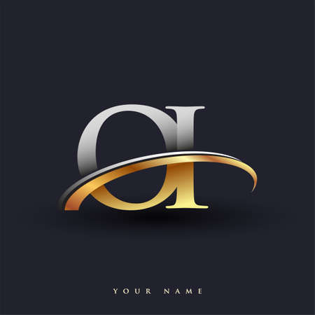 OI initial logo company name colored gold and silver swoosh design, isolated on white background. vector logo for business and company identity.