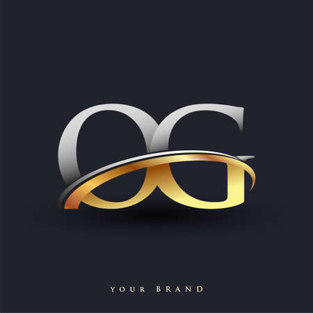 OG initial logo company name colored gold and silver swoosh design, isolated on white background. vector logo for business and company identity.