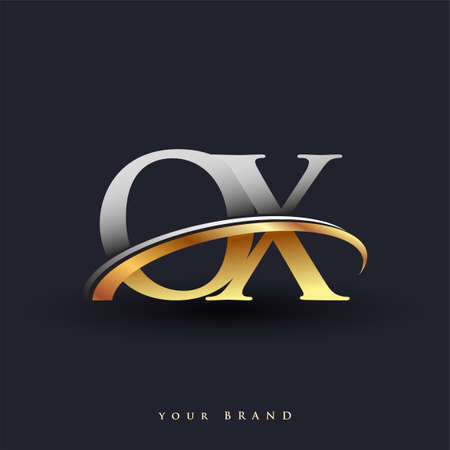 OX initial logo company name colored gold and silver swoosh design, isolated on white background. vector logo for business and company identity.