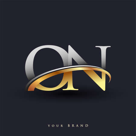 ON initial logo company name colored gold and silver swoosh design, isolated on white background. vector logo for business and company identity. Ilustração