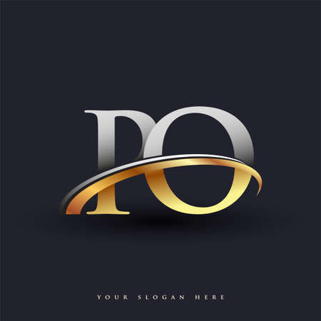 PO initial logo company name colored gold and silver swoosh design, isolated on white background. vector logo for business and company identity.