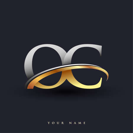 OC initial logo company name colored gold and silver swoosh design, isolated on white background. vector logo for business and company identity. Ilustração