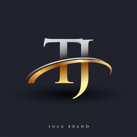 TJ initial logo company name colored gold and silver swoosh design, isolated on white background. vector logo for business and company identity. Logó