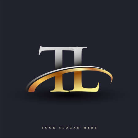 TL initial logo company name colored gold and silver swoosh design, isolated on white background. vector logo for business and company identity.