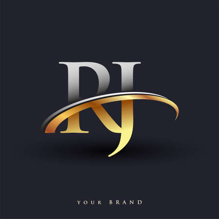 RJ initial logo company name colored gold and silver swoosh design, isolated on white background. vector logo for business and company identity.