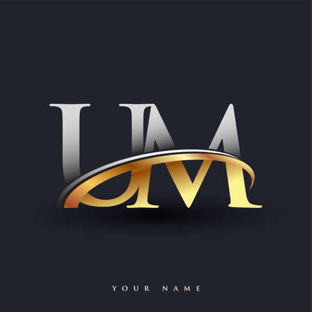 UM initial logo company name colored gold and silver swoosh design, isolated on white background. vector logo for business and company identity. Logo