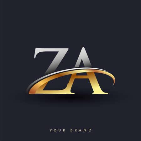 ZA initial logo company name colored gold and silver swoosh design, isolated on white background. vector logo for business and company identity.