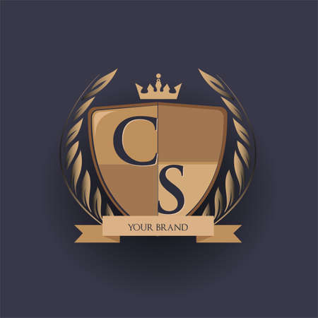 initial letter CS logotype colored brown and gold isolated with shield, crown and laurel design, logo for college and sport club.