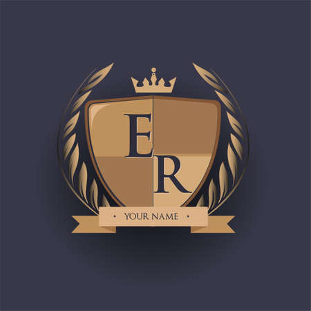 initial letter ER logotype colored brown and gold isolated with shield, crown and laurel design, logo for college and sport club.