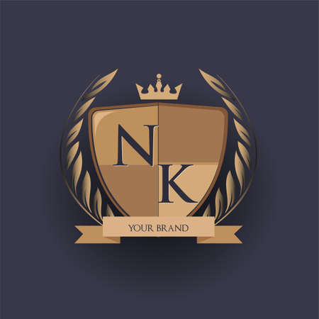 initial letter NK logotype colored brown and gold isolated with shield, crown and laurel design, logo for college and sport club.