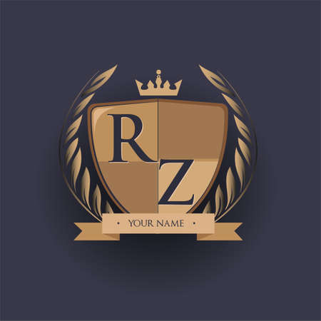 initial letter RZ logotype colored brown and gold isolated with shield, crown and laurel design, logo for college and sport club. Logó