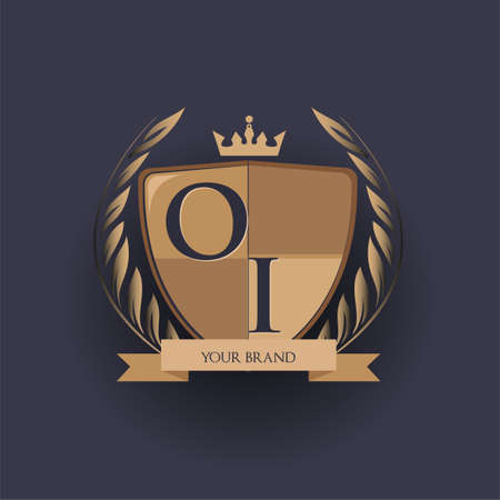 initial letter OI logotype colored brown and gold isolated with shield, crown and laurel design, logo for college and sport club.