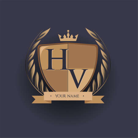 initial letter HV logotype colored brown and gold isolated with shield, crown and laurel design, logo for college and sport club. Logó