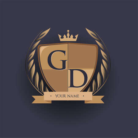 initial letter GD logotype colored brown and gold isolated with shield, crown and laurel design, logo for college and sport club. Logo