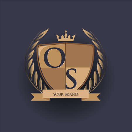 initial letter OS logotype colored brown and gold isolated with shield, crown and laurel design, logo for college and sport club.