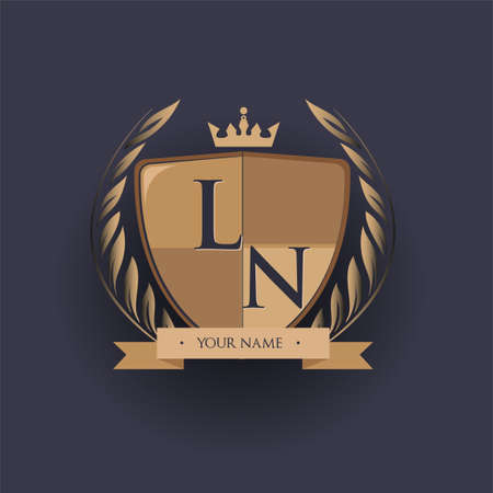 initial letter LN logotype colored brown and gold isolated with shield, crown and laurel design, logo for college and sport club.