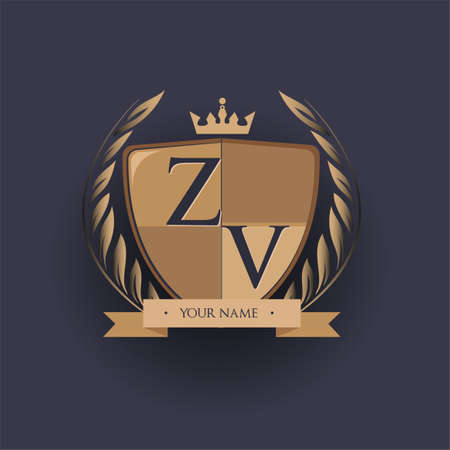 initial letter ZV logotype colored brown and gold isolated with shield, crown and laurel design, logo for college and sport club.