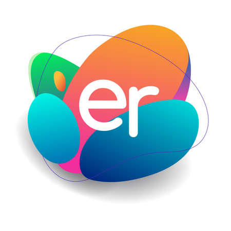 Letter ER logo with colorful splash background, letter combination logo design for creative industry, web, business and company.