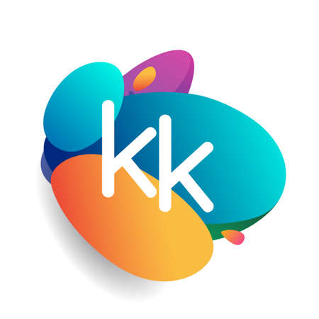 Letter KK logo with colorful splash background, letter combination logo design for creative industry, web, business and company.