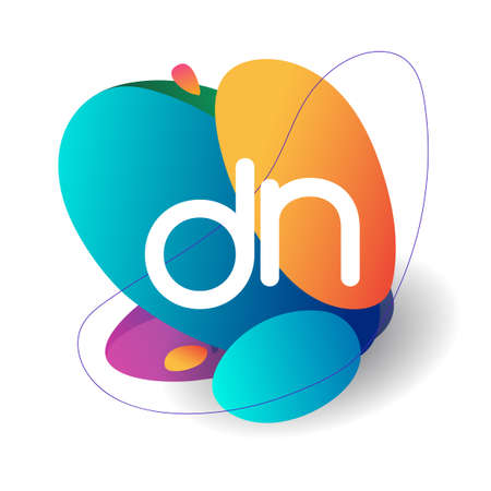 Letter DN logo with colorful splash background, letter combination logo design for creative industry, web, business and company.