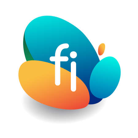 Letter FI logo with colorful splash background, letter combination logo design for creative industry, web, business and company.