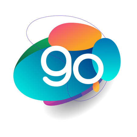 Letter GO logo with colorful splash background, letter combination logo design for creative industry, web, business and company.