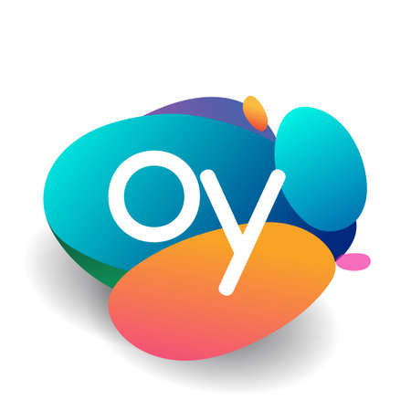 Letter OY logo with colorful splash background, letter combination logo design for creative industry, web, business and company.