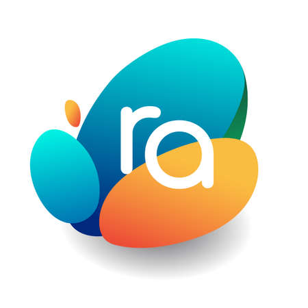 Letter RA logo with colorful splash background, letter combination logo design for creative industry, web, business and company. Logo