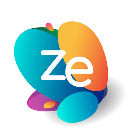 Letter ZE logo with colorful splash background, letter combination logo design for creative industry, web, business and company. Logo