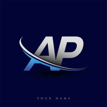 initial letter AP logotype company name colored blue and grey swoosh design. vector logo for business and company identity. Logo