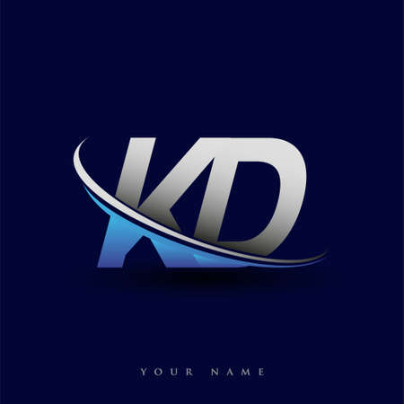 initial letter KD logotype company name colored blue and grey swoosh design. vector logo for business and company identity.