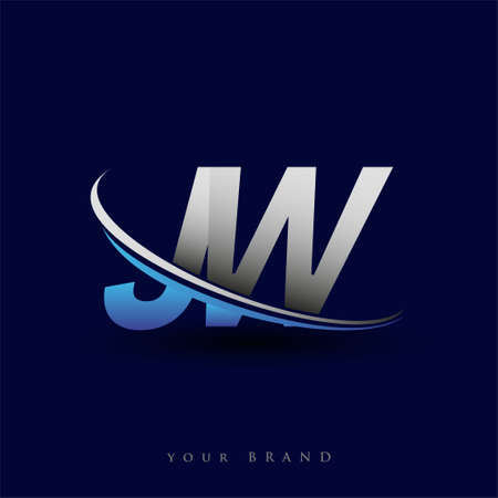 initial letter JW logotype company name colored blue and grey swoosh design. vector logo for business and company identity.