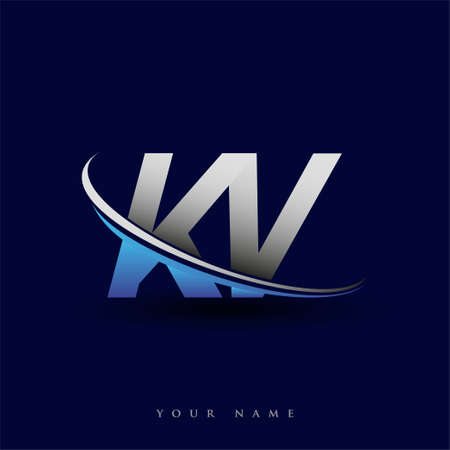 initial letter KV logotype company name colored blue and grey swoosh design. vector logo for business and company identity. Logó